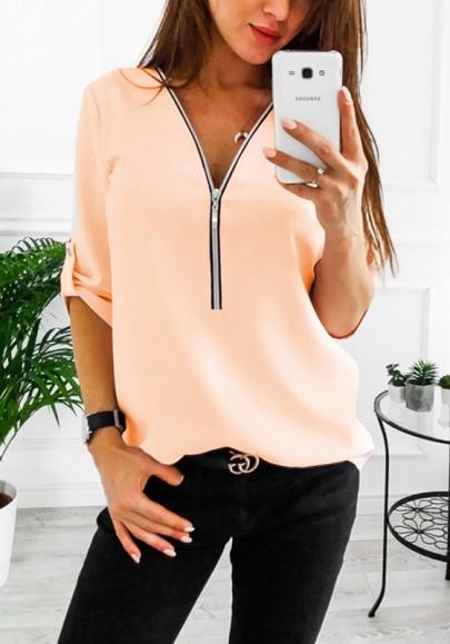 Blusa con cremallera v-cuello manga larga moda naranja
