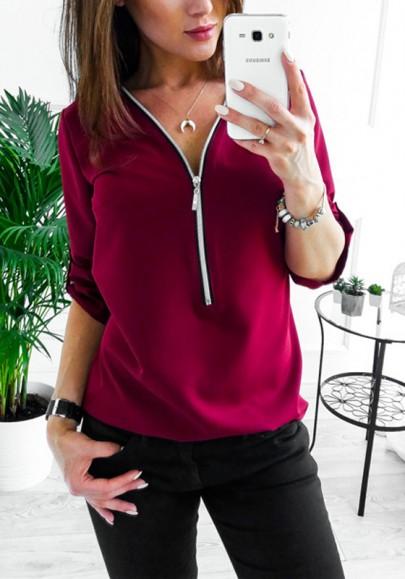 Wine Red Zipper Studded V-neck Long Sleeve Fashion Blouse