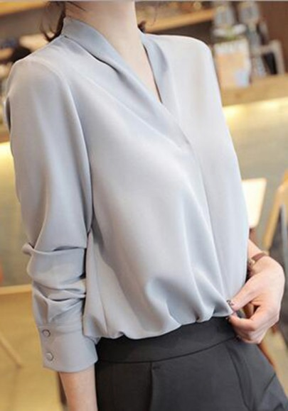 Grey Buttons Long Sleeve V-neck Office Worker Casual Blouse