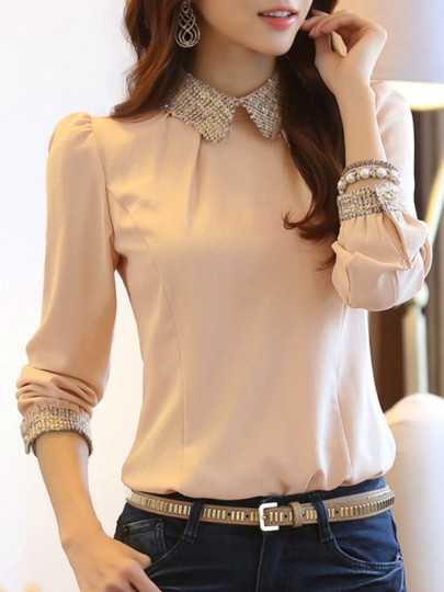 Chemisier en mousseline col claudine manches longues élégant femme blouse rose pale