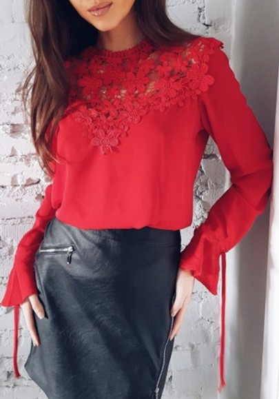 Red Floral Cut Out Chiffon Lace-up Sweet Office Worker/Daily Blouse