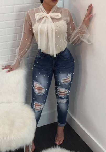 White Grenadine Pearl Sheer Two Piece Sweet Going Out Fashion Blouse