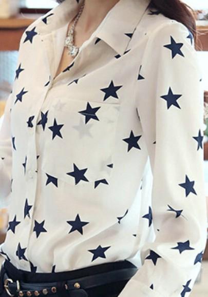 Blusa estampado floral estrella cuello vuelto cuello pico manga larga blanco