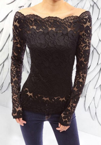 Black Flowers Lace Boat Neck Long Sleeve Sweet Blouse