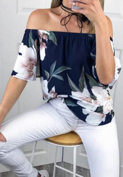Dunkelblau Blumen Rüschen Off Shoulder Kurzarm Mode Sommer Blusen Damen Oberteile Top