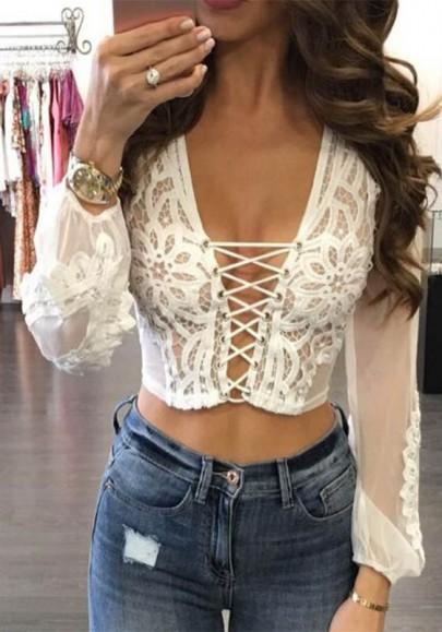 White Patchwork Lace Drawstring Grenadine Lace-up V-neck Fashion Blouse