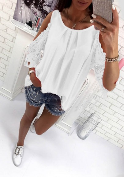 White Patchwork Cut Out Tie Back Round Neck Casual Blouse