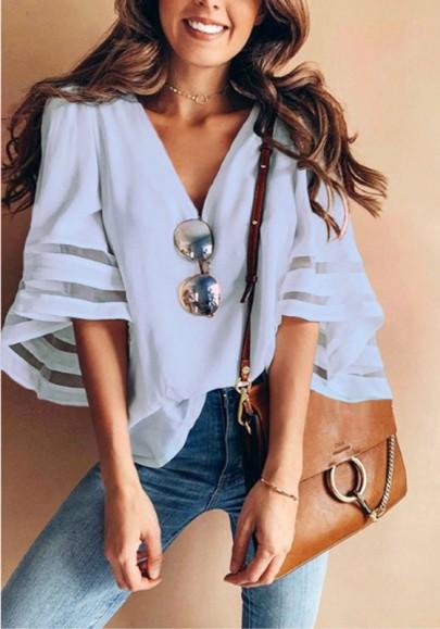 Blau Unregelmäßige V-Ausschnitt Ellenbogen Ärmel Mode Chiffon Bluse