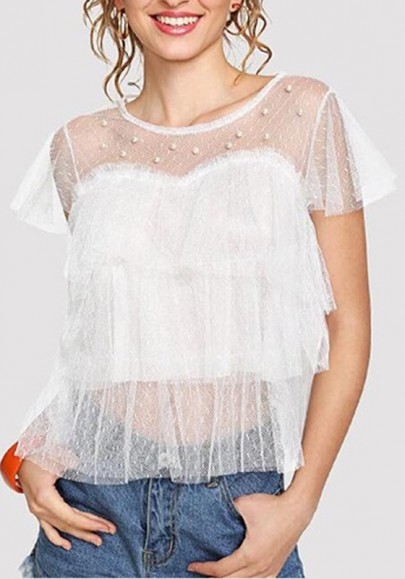 Tulle chemisier transparent col ronde manches courtes mode femme haute blanc