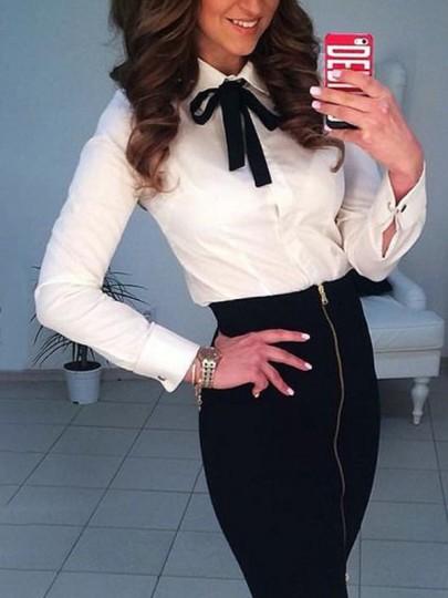 Chemisier avec noeud papillon col lavallière manches longues élégant femme blouse blanc