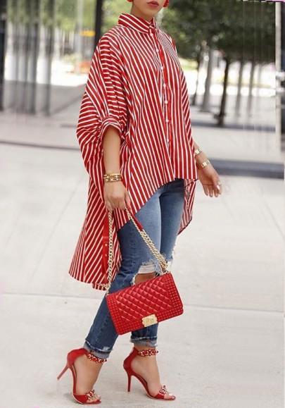 Red Striped Single Breasted High-Low Bat Sleeve Going out Casual Blouse