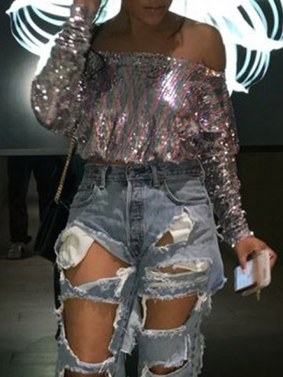 Purple Sequin Glitter Backless Off Shoulder Long Sleeve Casual Party Blouse