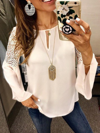 White Patchwork Lace Cut Out Fashion Blouse