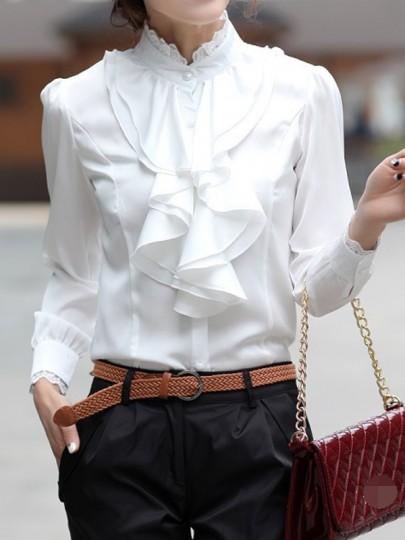 Weiße Spitze Knöpfe Rüschen Stehkragen Langarm Elegantes Bluse mit Volants Top Oberteile Damen Mode