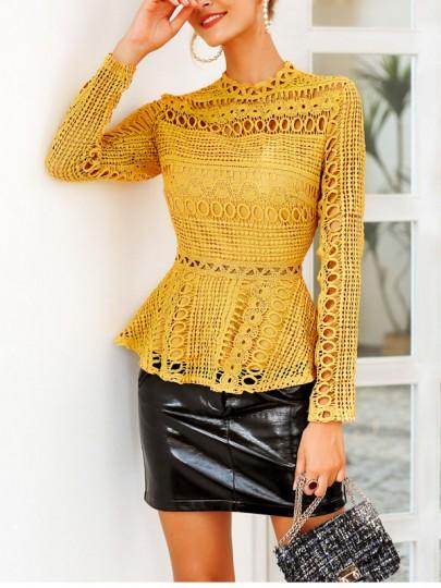 Chemisier en dentelle peplum manches longues mode femme blouse jaune