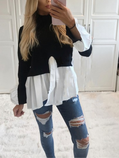 Black Patchwork Ruffle Irregular Sweet Going out Party Blouse