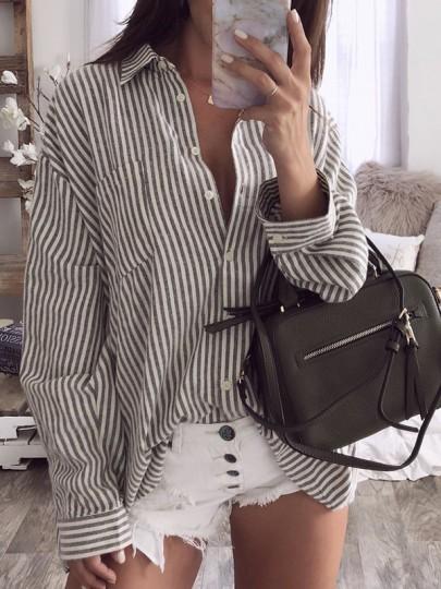 White Striped Buttons Pockets Turndown Collar Fashion Blouse