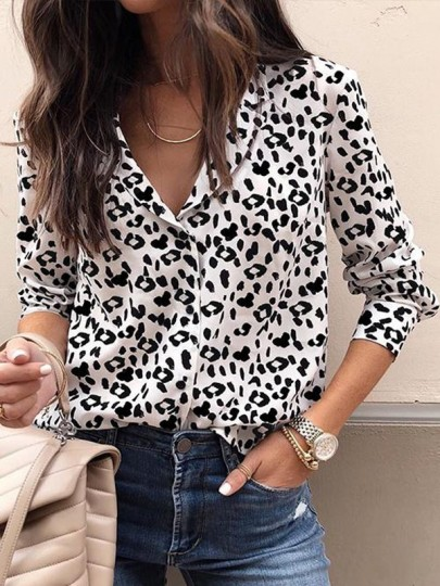 White Black Leopard Print Single Breasted Ladies Long Sleeve Blouse
