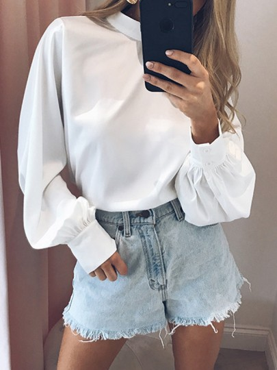 White High Neck Lantern Sleeve Long Sleeve Casual Blouse