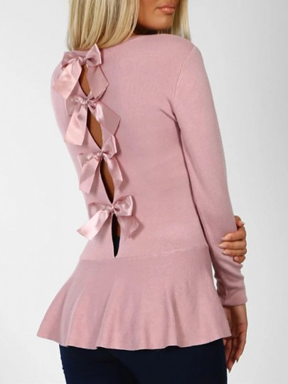 Pink Cut Out Backless Bow Ruffle Round Neck Long Sleeve Fashion Blouse