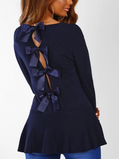 Navy Blue Cut Out Backless Bow Ruffle Round Neck Long Sleeve Fashion Blouse