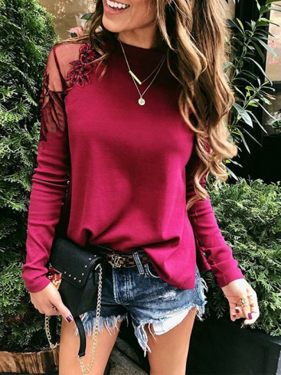 Wine Red Patchwork Lace Grenadine Round Neck Fashion Blouse