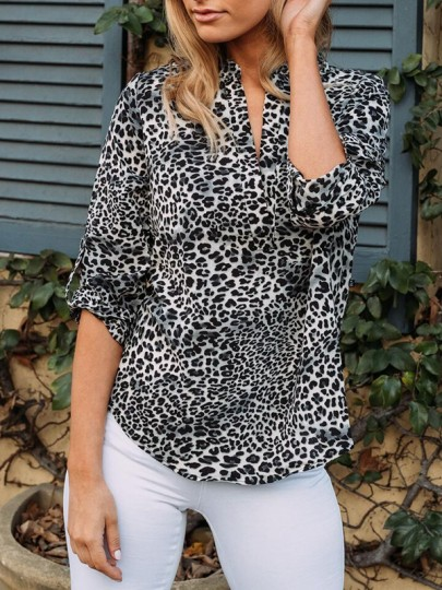 White Leopard Buttons Turndown Collar Fashion Blouse