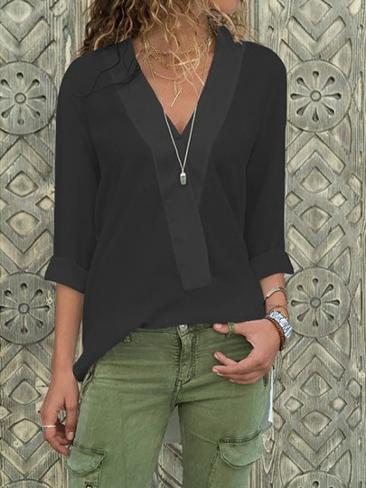 Black Irregular Side Slit V-neck Long Sleeve Fashion Blouse