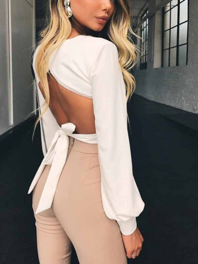 White Cut Out Bodycon Square Neck Long Sleeve Going out Blouse