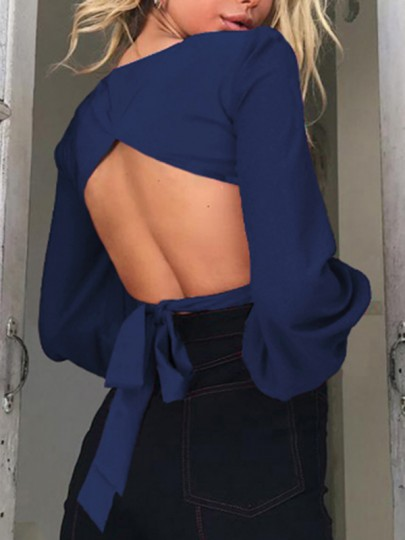 Blue Cut Out Bodycon Square Neck Long Sleeve Going out Blouse