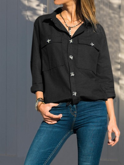 Black Buttons Pockets Single Breasted Turndown Collar Long Sleeve Fashion Blouse
