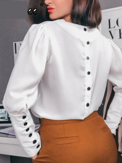 Chemisier v-cou dos boutonnage manches longues vintage mode femme top blanche