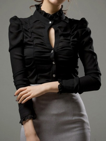 Black Cut Out Ruffle Pleated Single Breasted Band Collar Long Sleeve Elegant Blouse