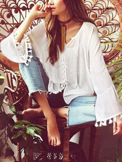 Blouse frange boutons manches longues mode boho femme top blanc