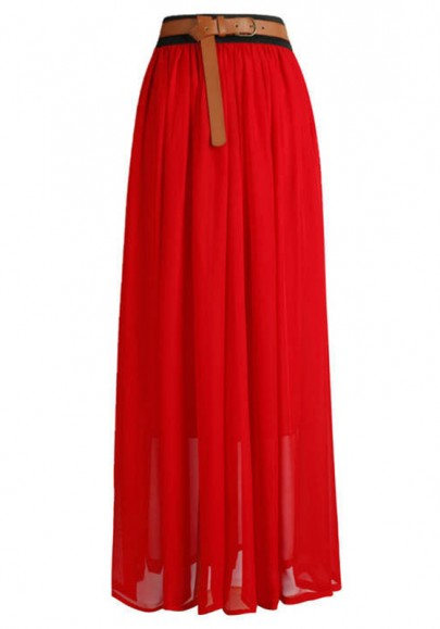 Red High Waist Floor Length Loose Chiffon Skirt