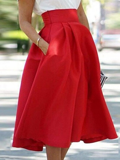 Red Plain Pleated Below Knee Loose Fashion Skirt