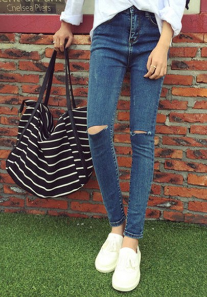 Blue Plain Zipper Casual Denim Jeans