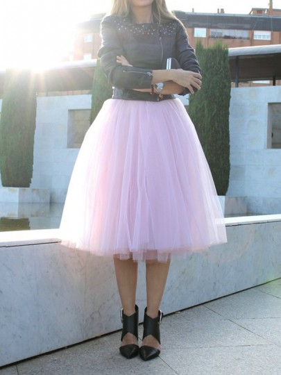 Pink Plain Draped Grenadine Puffy Tulle High Waisted Knee Length Adorable Tutu Skirt