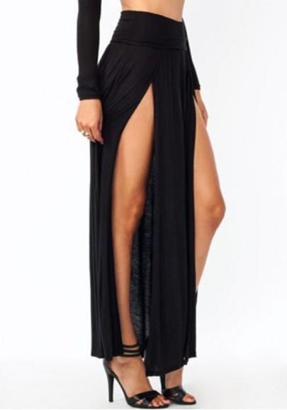 All Black Irregular Double Slit Floor Length Sexy Fashion Beach Maxi Skirt