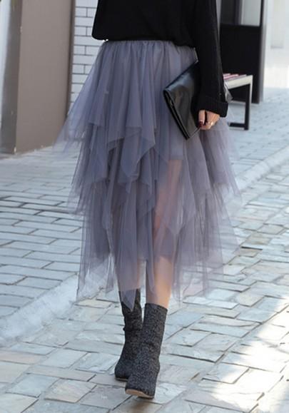 Grau Kaskadieren Unregelmäßig Mesh Hohe Taille Elegante Party Tutu Midirock Tüllrock Damen Mode