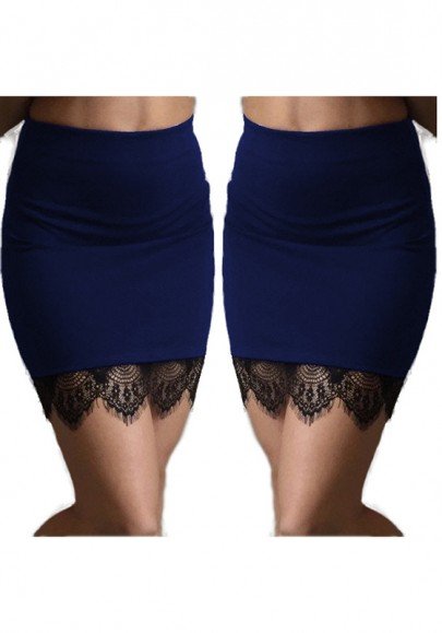 Blue Patchwork Lace Above Knee Sexy Polyester Skirt