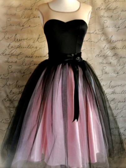 Falda lisa grenadina nylon dulce rosa