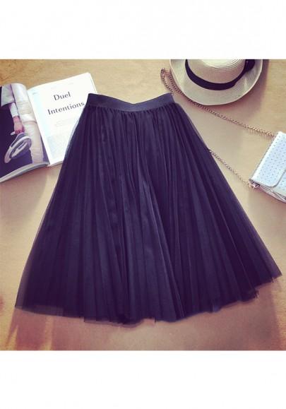 Black Plain Tiered Knee Length Sweet Chiffon Skirt