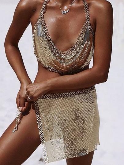 Golden Chain Sequin Irregular Side Slit Mid-rise Beach Mini Skirt