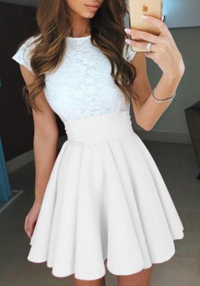 Weiß Gefaltete Hoher Taille A Linie Outfit Glockenrock Minirock Faltenrock Damen Mode