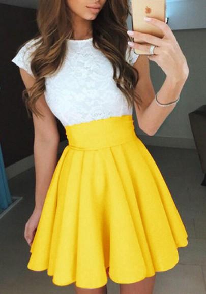Gelb Gefaltete Hoher Taille A Linie Outfit Glockenrock Minirock Faltenrock Damen Mode