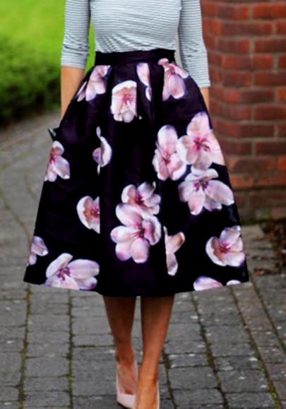 mi longue jupe imprim fleurs trap ze l gant femme noir jupes bas. Black Bedroom Furniture Sets. Home Design Ideas