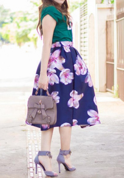 Falda costura floral con cremallera plisada cintura normal elegante azul oscuro
