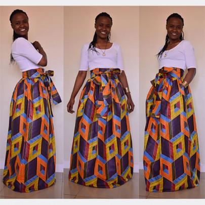 Gelb Blumen African Drucken gefalteter Gürtel Maxi Jahrgang Rock