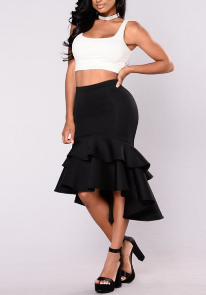 4659809f46 Black Cascading Ruffle High-low Irregular High Waisted Trumpet Homecoming  Party Elegant Skirt